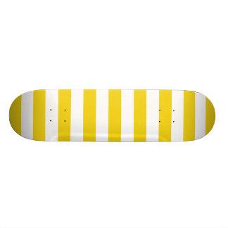 Lemon Zest Yellow Stripes Pattern Skateboard