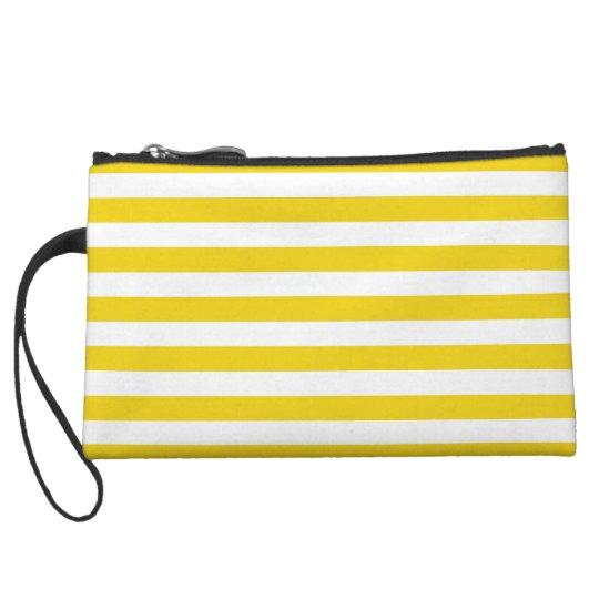 Lemon Zest Yellow Stripes Pattern Wristlet