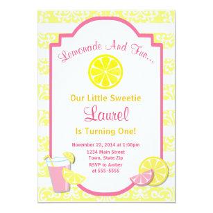 lemonade birthday invitation pink lemonade