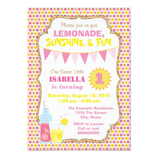 lemonade birthday party invitations