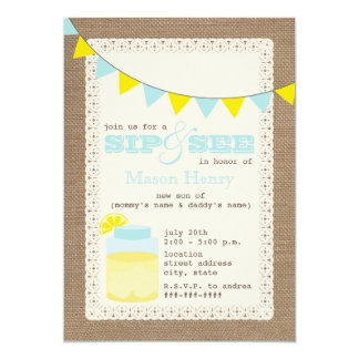 Lemonade Burlap Inspired Sip And See Baby Boy 5x7 Paper Invitation Card