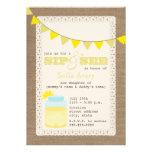 Lemonade Burlap Inspired Sip And See Invitation