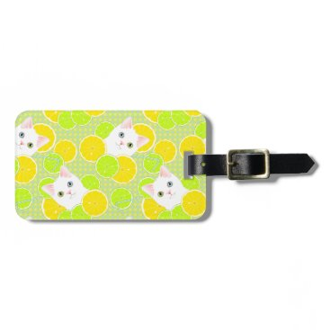 Beach Themed Lemonade Cat Bright and Cheerful luggage tag