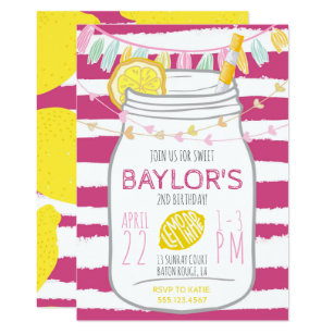 35e4ba546ade Lemonade Mason Jar Birthday Invitation