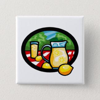 Lemonade Picnic Pitcher Lemons Gingham Check Pinback Button
