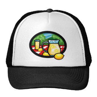 Lemonade Picnic Pitcher Lemons Gingham Check Trucker Hat
