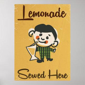 Lemonade Served here vintage Drinks commercial Poster