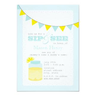 Lemonade Sip And See Baby Boy 5x7 Paper Invitation Card