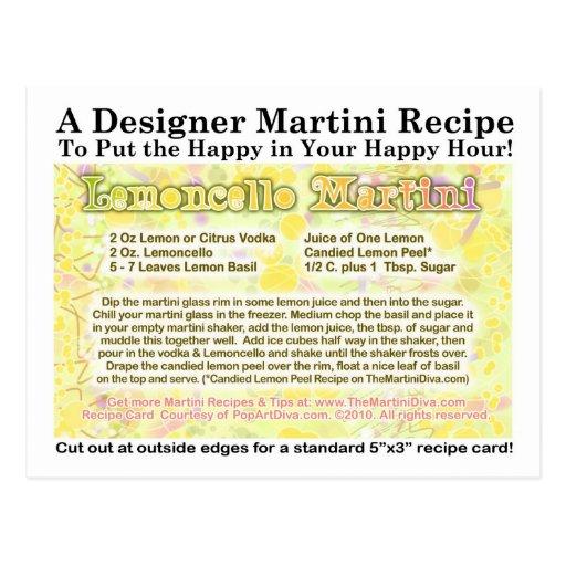 Lemoncello Martini Recipe Postcard