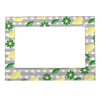 lemons and flowers magnetic picture frame