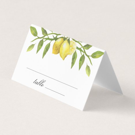 Lemons and Greenery Blossom Wedding Place Card