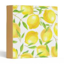 Lemons and leaves  pattern design 3 ring binder