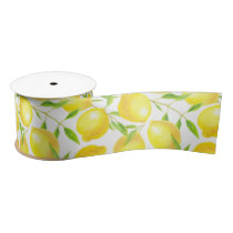 Lemons and leaves  pattern design satin ribbon