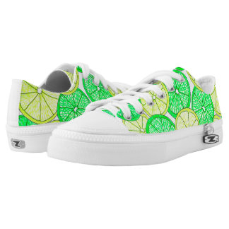 Lemons and Limes Pattern Sneakers Printed Shoes
