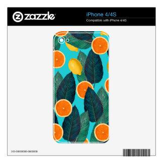 lemons and oranges teal iPhone 4 skins