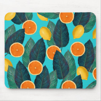 lemons and oranges teal mouse pad