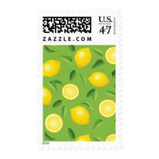 Lemons Background Pattern Postage Stamp