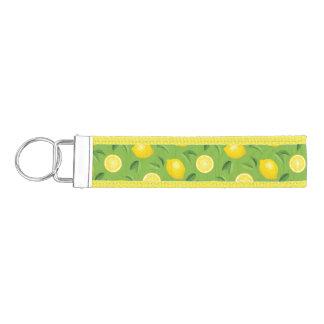 Lemons Background Pattern Wrist Keychain