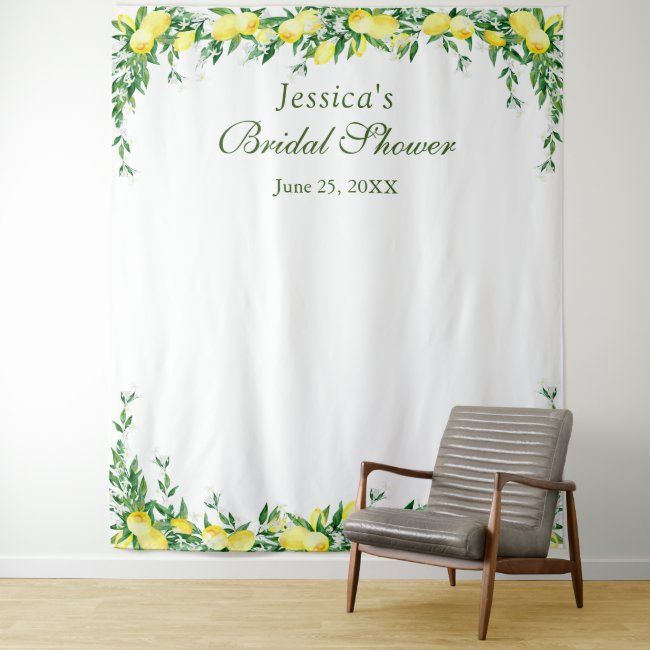 Lemons Blossom Bridal Shower Photo Booth Backdrop