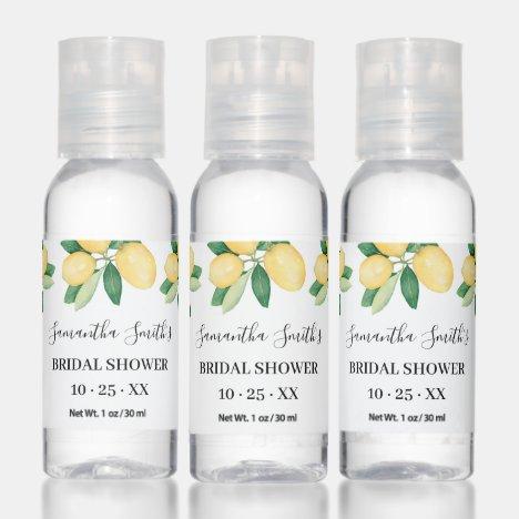 Lemons Bridal Shower Favor Hand Sanitizer