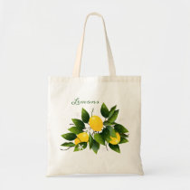 Lemons Citrus Fruit Floral Tote Bag