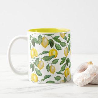 Lemons, fruits, mediterrane illustration/fruit Two-Tone coffee mug