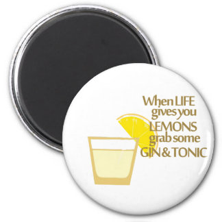lemons gin and tonic 2 inch round magnet
