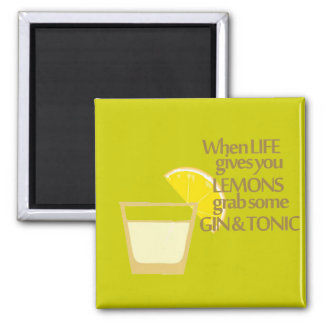 lemons gin and tonic 2 inch square magnet