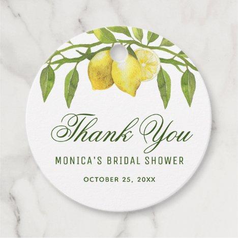 Lemons & Greenery Chic Bridal Shower Thank You Favor Tags