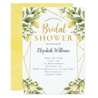 Lemons Greenery Geometric Frame Bridal Shower Invitation