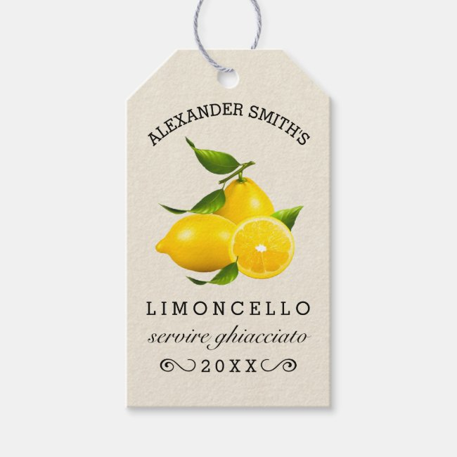 Lemons Homemade Limoncello Hang Tag | Bottle