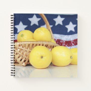 Lemons in Basket with Flag Background Notebook