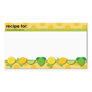 Lemons limes theme recipe business size cards Double-Sided standard business cards (Pack of 100)
