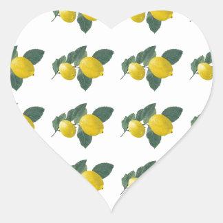 Lemons on a branch heart sticker