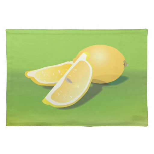 Lemons on green placemats