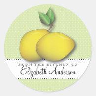 Lemons on Green Polka Dot From the Kitchen Label Round Sticker