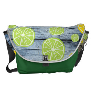 Lemons on Wood Board Messenger Bag