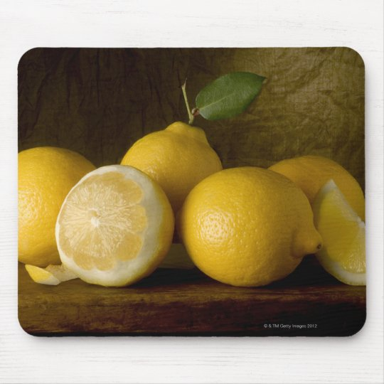 lemons on wood mouse pad