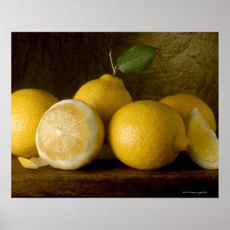 lemons on wood poster