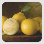 lemons on wood square sticker