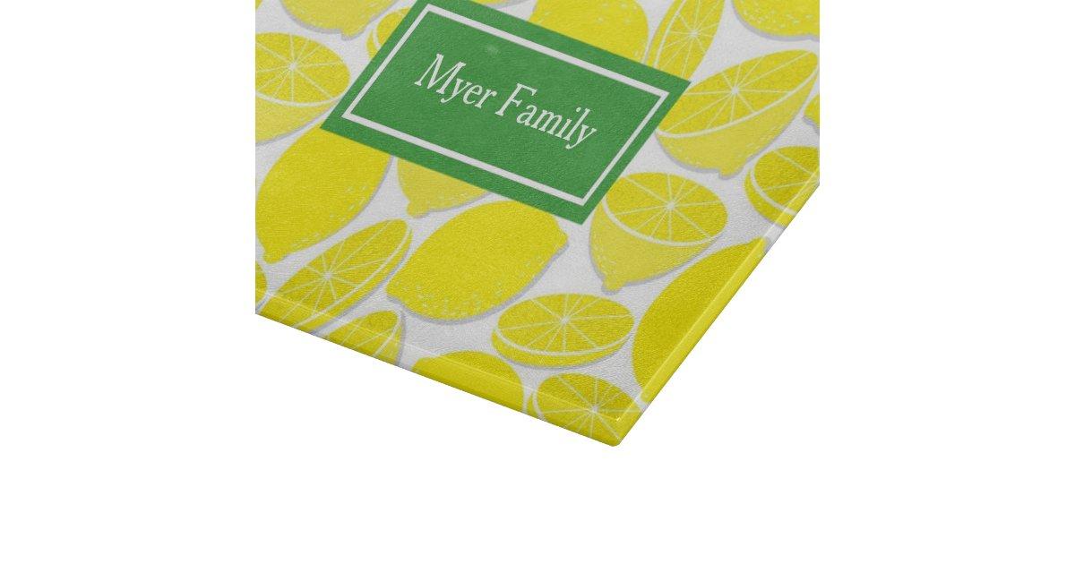 Lemons personalized glass cutting board zazzle - Tempered glass cutting board personalized ...