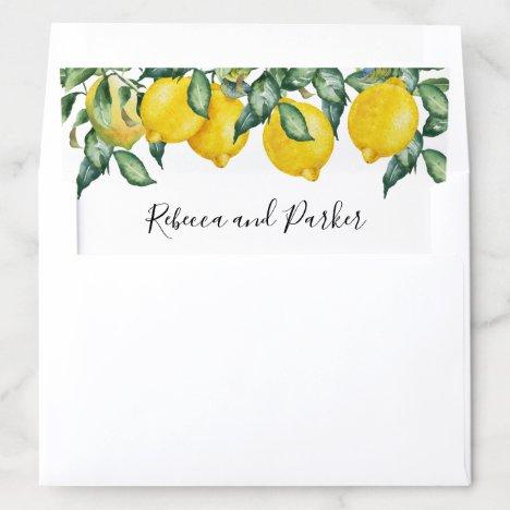 Lemons personalized names wedding envelope liner