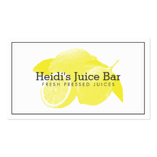 Lemons Screen-Print Illustration Yellow/White Double-Sided Standard Business Cards (Pack Of 100)