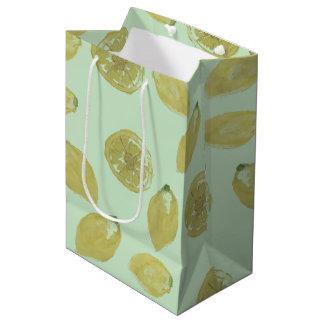 Lemons Sliced and Whole Lemon on Mint Medium Gift Bag