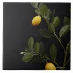 Lemons still on their Branch Ceramic Tile