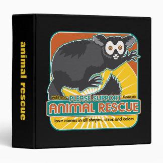 "Lemur animal del rescate carpeta 1 1/2"""