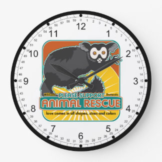 Lemur animal del rescate reloj redondo grande