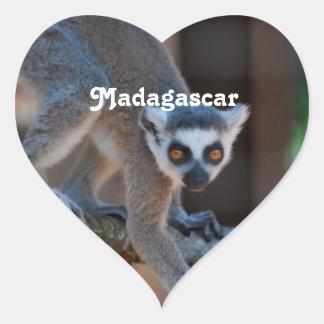 Lemur de Madagascar Colcomanias De Corazon Personalizadas