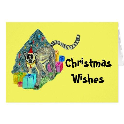 Lemur del navidad tarjeta pequeña