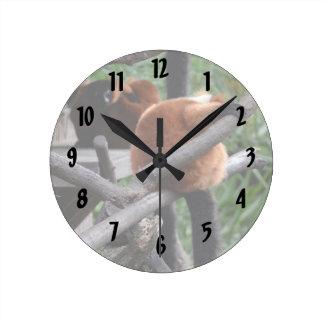 Lemur hinchado rojo que cuelga en la visión traser reloj redondo mediano